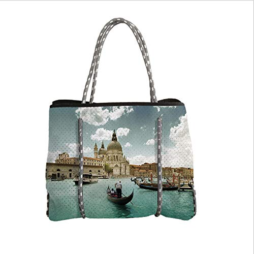 Neoprene Multipurpose Beach Bag Tote Bags,Venice,Basilica Santa Maria Della Salute by The Grand Canal Aerial View Image Decorative,Beige Turquoise Bluegrey,Women Casual Handbag Tote Bags