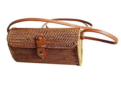 Rattan Nation – Rattan Basket Clutch With Shoulder Strap, Woven Rattan Bag