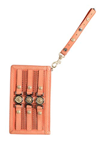 Versace 100% Leather Orange Women's Wristlet Clutch