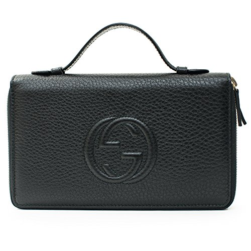 Gucci Black Travel Double zip Around Wallet Leather top Bag Handbag Purse Italy New