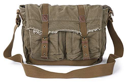 Gootium Canvas Messenger Bag – Vintage Shoulder Bag Frayed Style Satchel