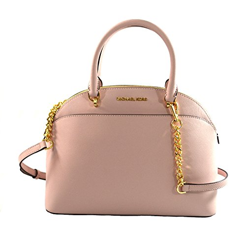 Michael Kors Emmy Large Dome Saffiano Leather Satchel Crossbody Bag Purse (Blossom)