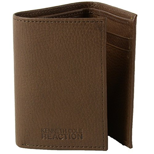 Kenneth Cole ReactionGenuine Leather Trifold Wallet Cuir Authentique Brown