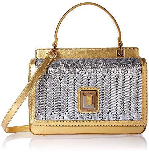 LUANA ITALY Women's Sofia Mini Satchel Silver Mesh and Gold Leather Handbag