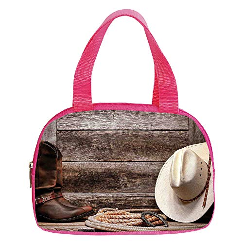 Personalized Customization Small Handbag Pink,Western Decor,American West Rodeo White Straw Cowboy Hat with Lariat Leather Boots on Rustic Barn Wood,for Girls,Personalized Design.6.3″x9.4″x1.6″