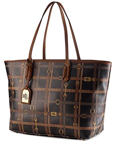 Lauren Ralph Lauren Womens Gallaway Faux Leather Tote Handbag Black Extra Large