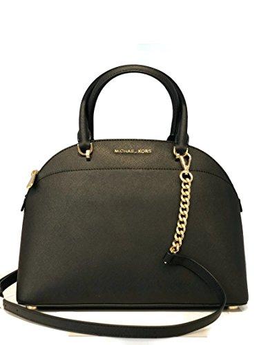 MICHAEL Michael Kors Large Dome Emmy Saffiano Leather Satchel Shoulder Handbag – Black