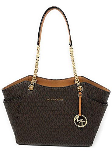 MICHAEL Michael Kors Women's Jet Set Travel Saffiano Large Chain Shoulder Tote, Style 35T5GTVT3L (Brown PVC/Strap Logo)