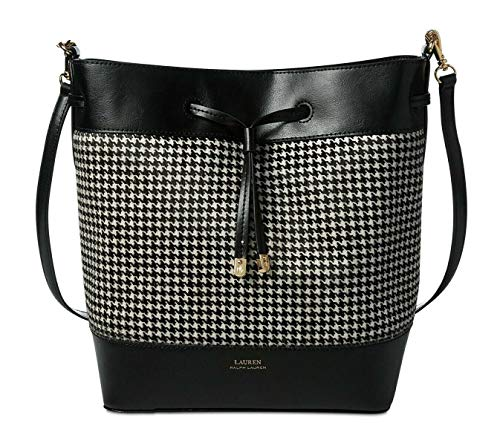 Lauren Ralph Lauren Houndstooth Calf Hair Debby II Drawstring Handbag Black White