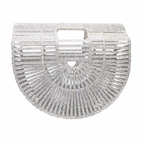 Beauty YaYa Ark Bamboo/Acrylic Clutch Handbag Wooden Purse Tote Bag (Small Crystal Silver)