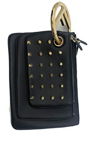 Fendi Women's Black Leather Gold Studded Triplette Multi Clutch Handbag 8BS001