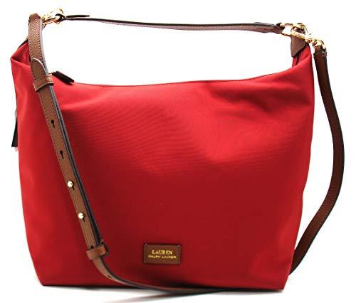 Ralph Lauren LAUREN Chadwick Nylon Medium Hobo/Shoulder Bag Red/Gold