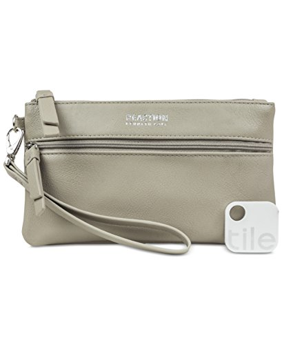 Kenneth Cole Reaction Forget Me Not Tech Taupe Wristlet with Tile Bluetooth Tracker
