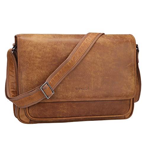 Banuce Vintage Soft Full Grain Italian Leather Messenger Bag for Men Satchel Crossbody Purse for Women Business Shoulder Briefcase Work 14 Inch Laptop Bag