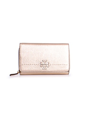 Tory Burch McGraw Pebbled Leather Metallic Wallet Crossbody in Gold