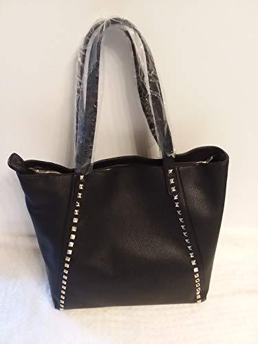 Women BCBG Paris Large Stud Zip Shoulder Handbag Tote