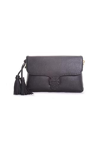Tory Burch McGraw Pebbled Leather Flap Crossbody Handbag in Black