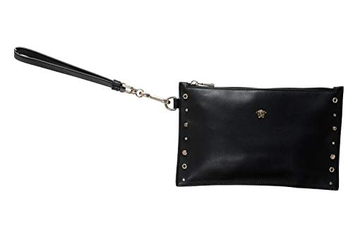 Versace 100% Leather Black Women's Wristlet Clutch Bag