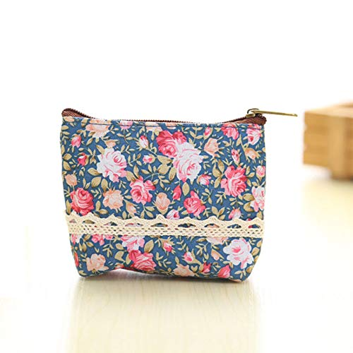 Elegant Women Girls Samll Floral Handbag Zip Coin Bag Case Key Card Holder Purse (Color – Dark Blue)