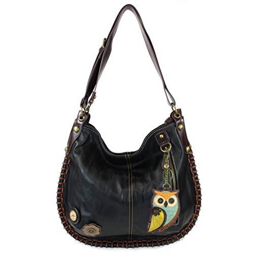 Chala Handbag Charming Black Cross-body or Shoulder Convertible Large Bag – Black (Owl III)
