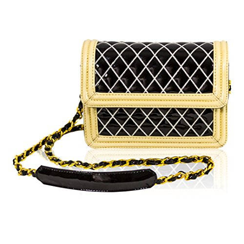 Valentino Orlandi Italian Designer Black/White Quilted Leather Mini Purse Crossbody Messenger Bag