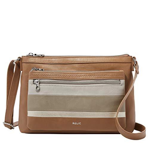 Relic by Fossil Women's Evie Crossbody Handbag Purse, Color: Tan/Gold