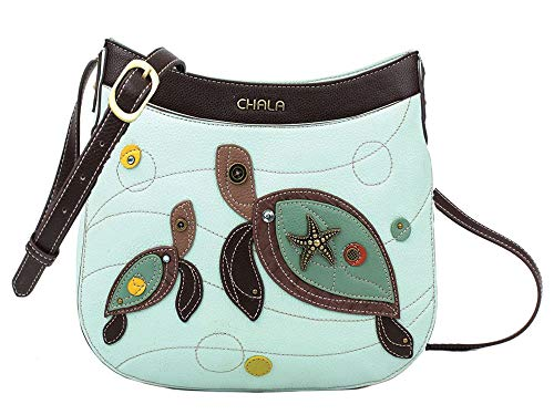 Chala Handbags Sea Turtle Crescent Crossbody Handbag Purse, Turtle Lovers