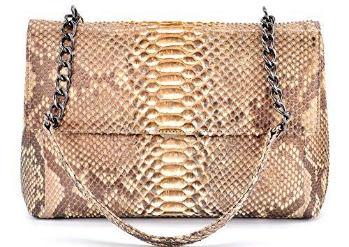 Genuine Snake (Python) Skin Shoulder Handbag with Chain and Snakeskin Strap