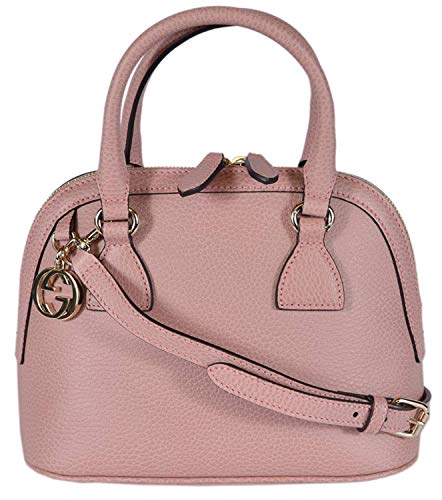 Gucci Women's Leather 2-Way Convertible GG Charm Small Dome Purse (Soft Pink)