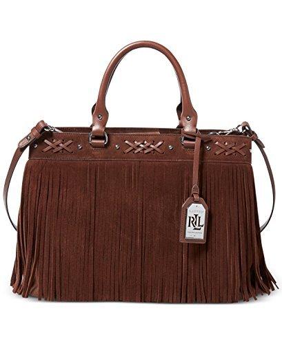 Lauren Ralph Lauren Womens Barton Leather Satchel Tote Handbag Brown Medium