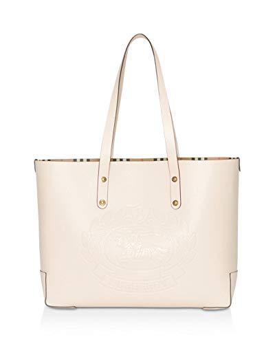 Burberry LIMESTONE Cream Gold Small Tote Embossed Crest Handbag Bag New
