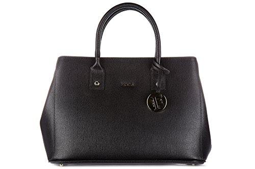 Furla women's leather handbag shopping bag purse linda black