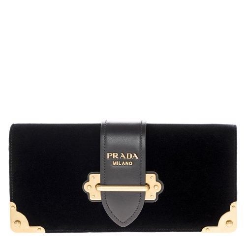 Prada Women's Cahier Handbag Velvet Black