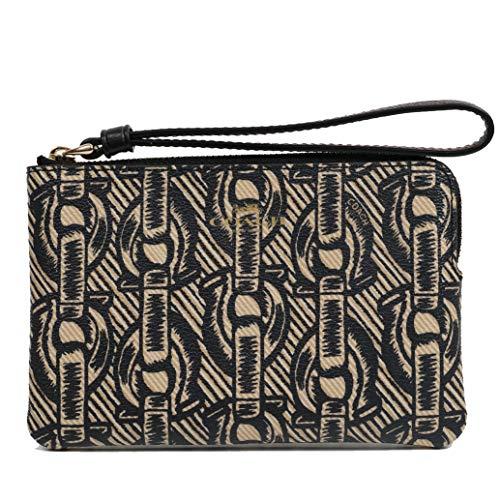 Coach Crossgrain Leather Corner Zip Wristlet Wallet (Black)