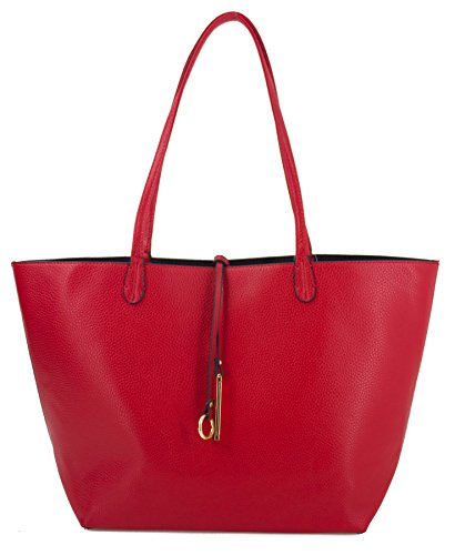 Canal Collection Reversible 2 in 1 Fashion Tote Handbag with Pouch (Red)