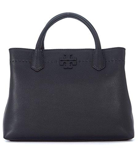 Tory Burch McGraw Center Zip Leather Satchel Bag (Black)