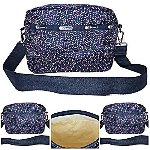 LeSportsac Ditsy Dance Party Austin Crossbody Handbag Detachable/Adjustable/Interchangeable Strap Metal Hardware, Style 2435/Color E121