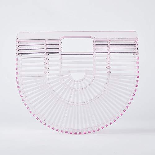 Womens Acrylic Clutch Handbag Large Tote Bag Beach Bag (Clear pink)