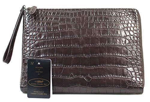 Authentic M Crocodile Skin Womens Belly Wristlet Clutch Bag Zipper W/Strap Brown Handbag