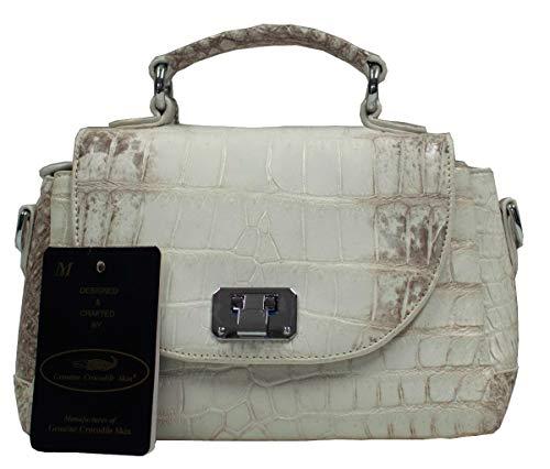 Authentic M Crocodile Skin Womens Belly Clutch Bag Purse W/Strap White Locked Handbag