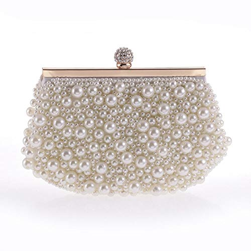 RMXMY Personality Creativity Women Wedding Party Bag Purse Clutch Bag with Pearl Beautiful Evening Bag Pearl White Shoulder Bags Evening Bag