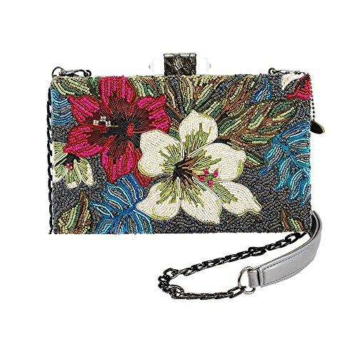 MARY FRANCES Flora & Fauna Beaded Cross-body Handbag