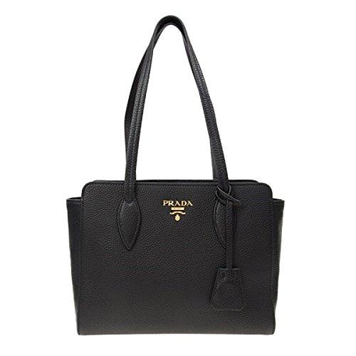 Prada Black Leather Bibliotheque Paradigme Shoulder Bag Handbag 1BG112