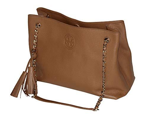 Tory Burch Women's Bombe Leather Top Handle Tote Handbag 52732 (Bark)