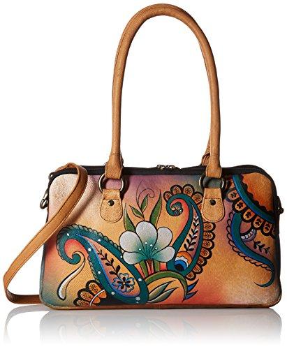 Anna by Anuschka Satchel Handbag | Genuine Leather | Floral Paisley