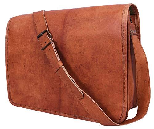 15 Inch Leather Vintage Crossbody Messenger Satchel Bag By Aaron Leather (Caramel)
