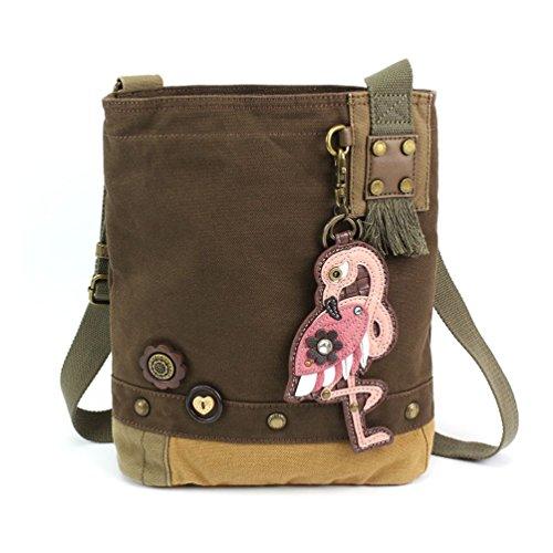 "Chala Womens' Canvas Patch Crossbody Handbag ""Flamingo"" – Dark Brown"