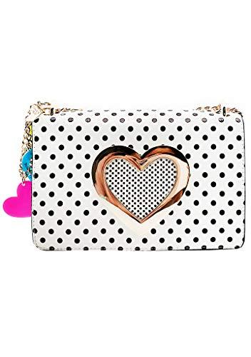 Betsey Johnson Sadies Hole in My Heart Crossbody Bag in White/Multi