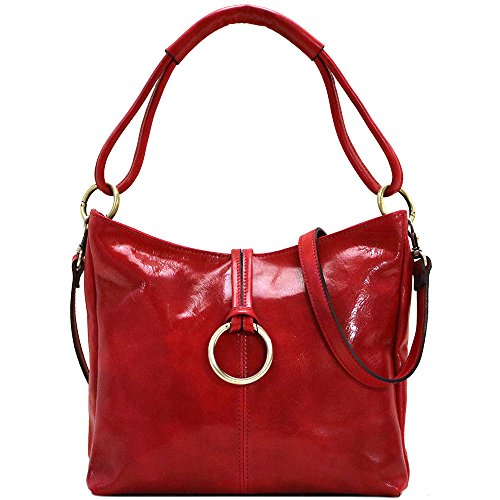 Floto Tavoli Leather Shoulder Bag Cross Body Tote in Tuscan Red