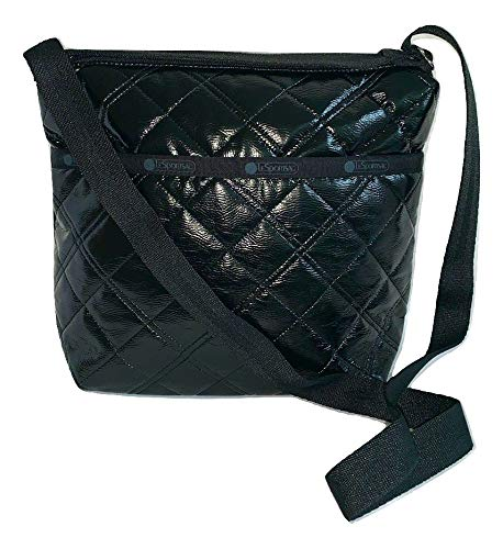 LeSportsac Black Crinkle Quilted Patent Small Cleo Crossbody Handbag, Style 7562/Color H026